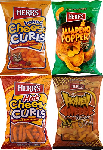 Herr's Cheese Curls, Hot Cheese Curls, Honey Cheese Curls & Jalapeno Poppers Variety 4-Pack (Puffs Honey)