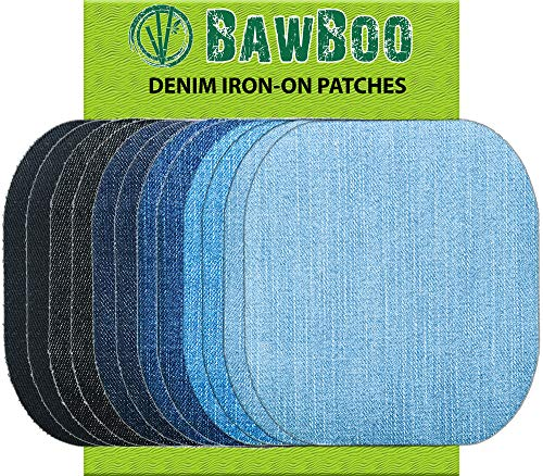 Iron on Patches - Denim Patches - 12 Pieces Assorted Jeans Repair Kit 9.8cm by 10.8cm best to buy