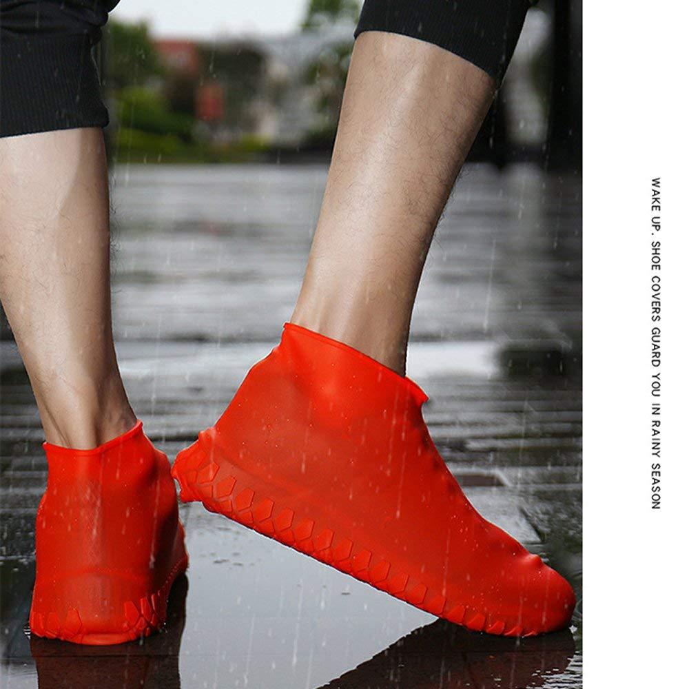 DGdolph Cubrezapatos Antideslizantes Antideslizantes de Silicona para Hombres y Mujeres de Lluvia Rojo 35-39