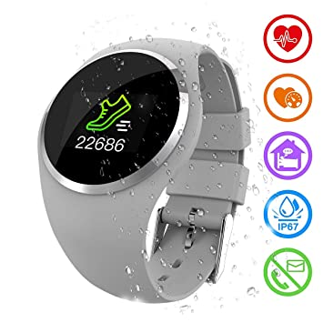 Zeerkeer Smartwatch, Reloj Inteligente Pulsera de Actividad con Pulsómetro, Blood Pressure,Impermeable IP67 Facebook/Twitter/Whatsapp inseguitori de ...