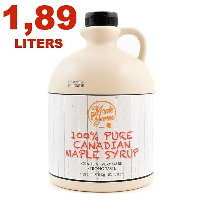 Jarabe de arce Grado A (Very dark, Strong taste) - 1,89 litros (2 ...