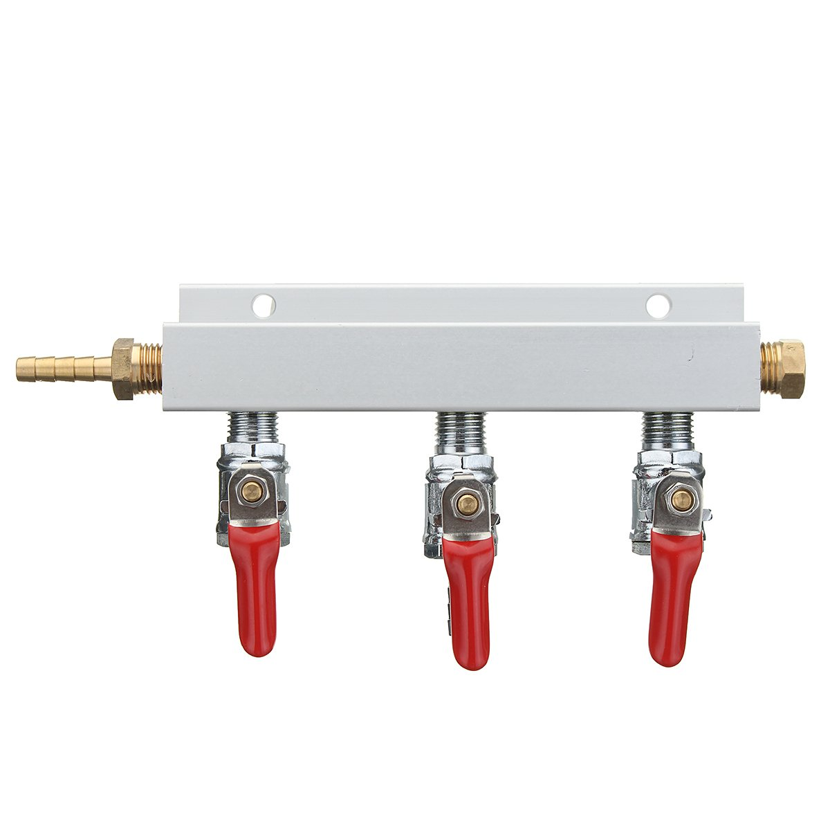 3-Way CO2 Air Distributor Manifold with Check Valves Brass 3/8 Inch Barb 3 Outputs