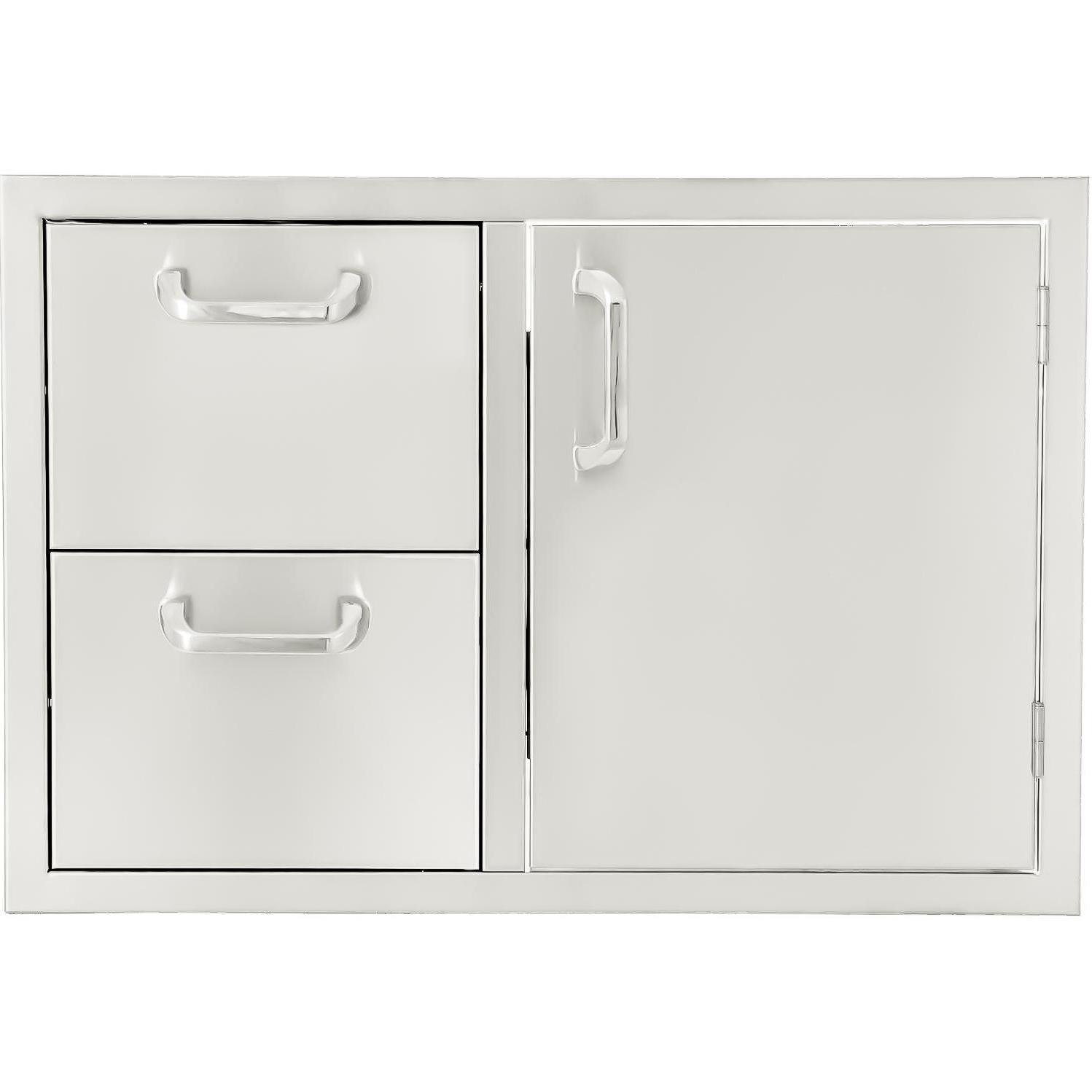 BBQGuys Kingston Series 30-Inch Stainless Steel Right-Hinged Access Door & Double Drawer Combo