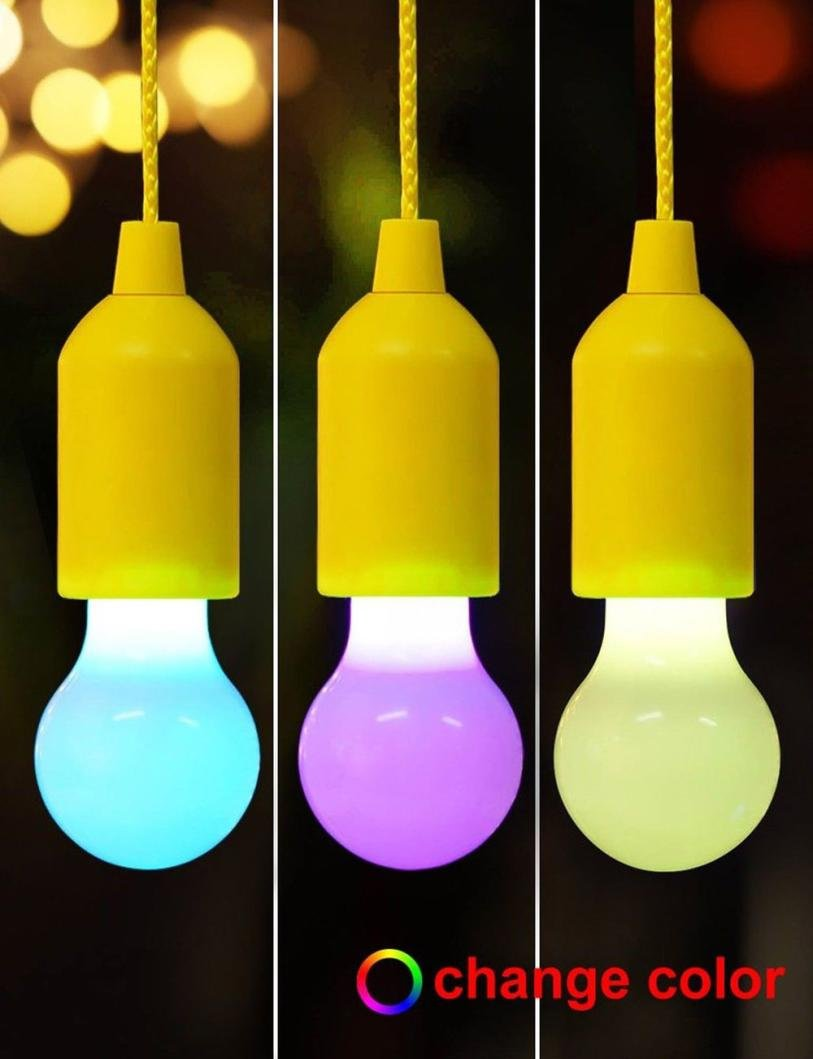 Webla Portable Waterproof LED Pull Cord Light Bulb Battery Operated Lighting Bulb Hanging Lamp On A Rope for Outdoor Gardens Camping Parties BBQ Cupboards Weddings Festivals Decoration Pink