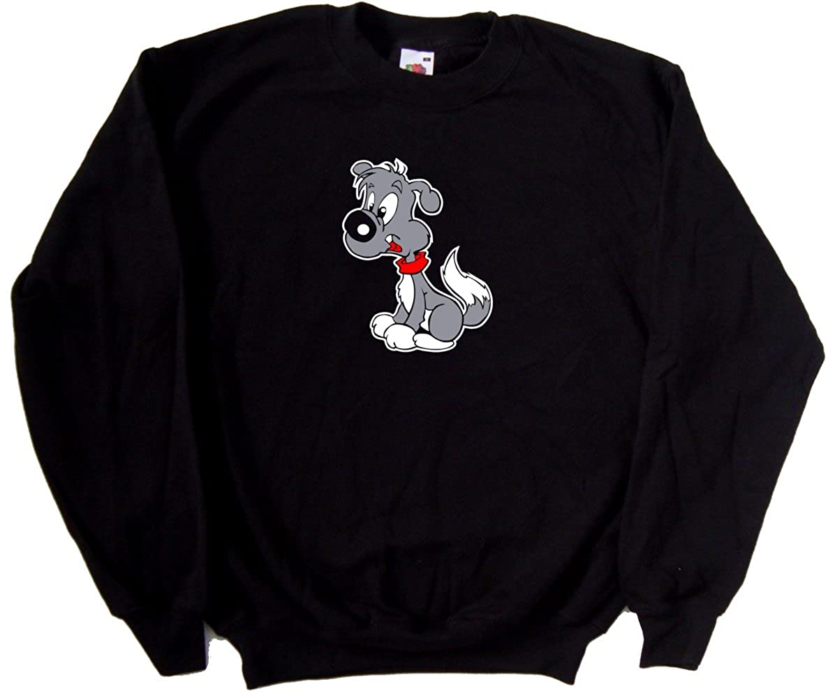 Cartoon Puppy Dog Black Sweatshirt