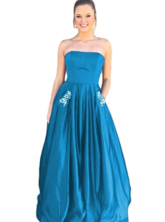 Liyuke Womens Strapless Prom Dresses Beaded Formal Evening Gowns with Pocket Blue ...
