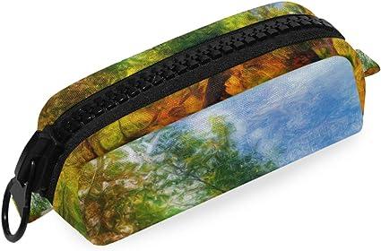 Bolsa Estuche escolar Lápiz Pintura de paisaje Árboles forestales Río Otoño Bolsa de oficina Bolígrafo Caja grande con cremallera: Amazon.es: Oficina y papelería