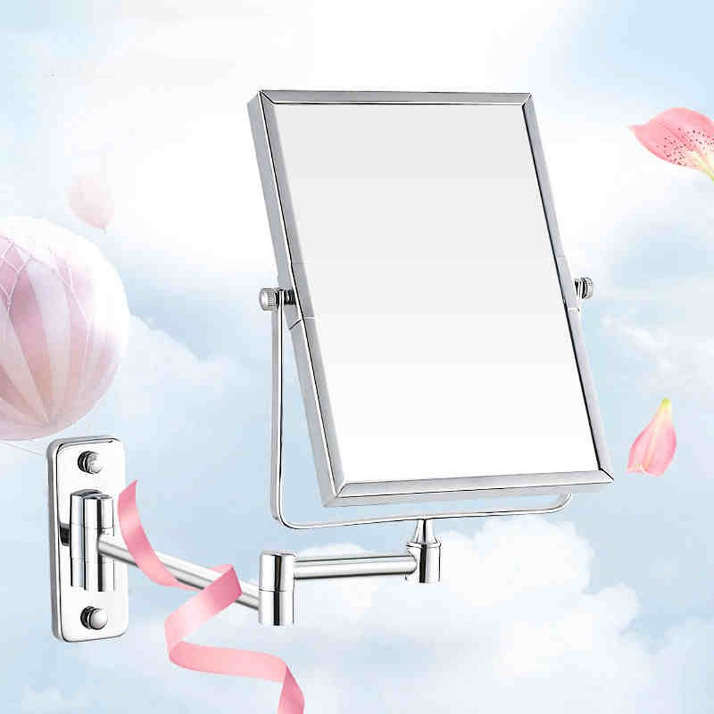 Cosmetic mirror Double-sided Push-pull Magnifying Beauty Mirror Rotating Makeup Mirror Hotel Bathroom Folding Mirror Mirror Cosmetic mirror