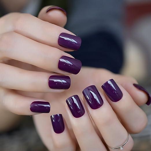 EchiQ - Uñas postizas de acrílico morado profundo para decoración de uñas, redondas, cuadradas, para manicura, salón: Amazon.es: Belleza