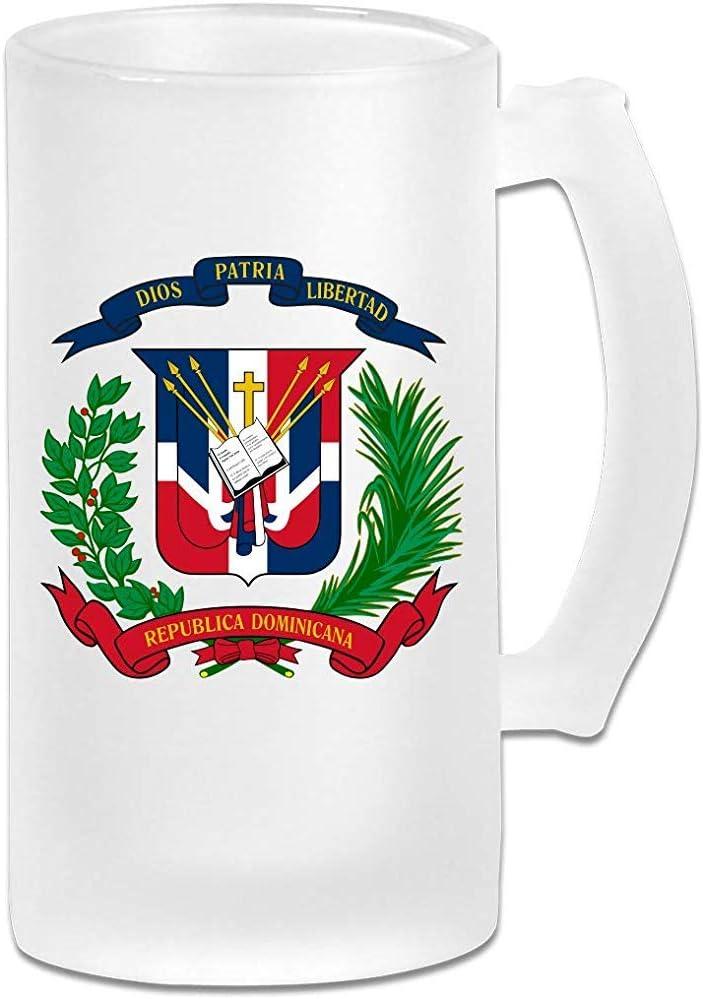 Jarra de cerveza Stein de vidrio esmerilado con bandera de República Dominicana - Taza de pub personalizada personalizada - Regalo para su bebedor de cerveza favorito