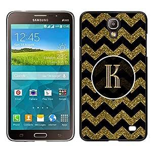 EJOY---Cubierta de la caja de protección para la piel dura ** Samsung Galaxy Mega 2 ** --Iniciales patrón de la letra del oro Chevron Rey