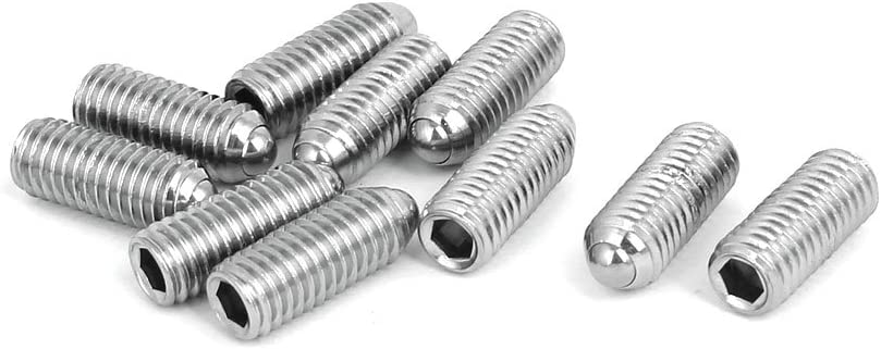 uxcell M8x20mm 304 Stainless Steel Spring Hex Socket Ball Point Grub Set Screws 10pcs