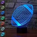 Rugby Football 3D Lamp Optical Illusion Night Light, Gawell 7 Color Changing Touch Table Desk Lamps with Acrylic Flat & ABS Base & USB Cable for Awesome Gift