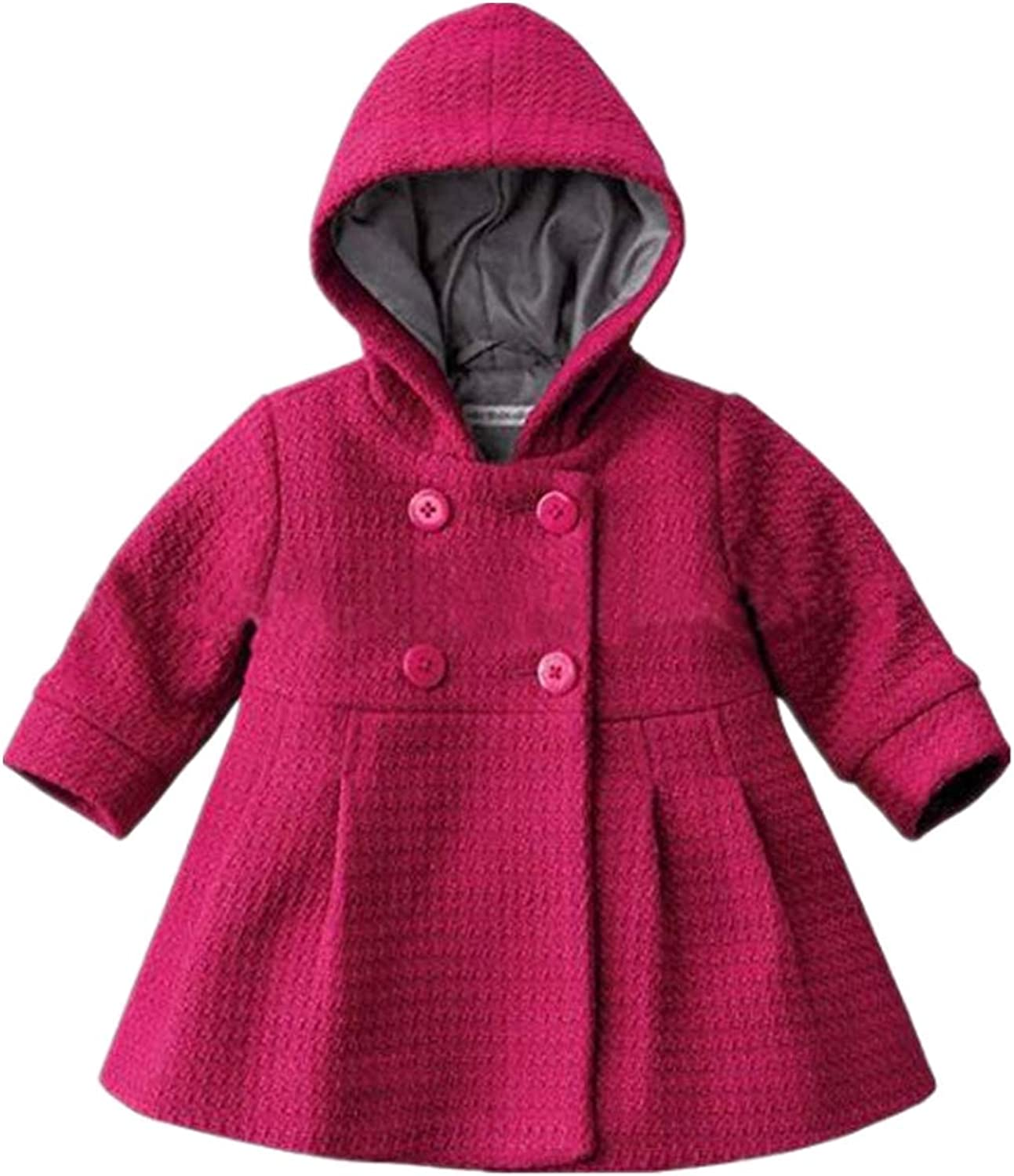 Verypoppa Baby Girls Hooded Long Sleeve A Line Trench Coat Jacket Outwear Top