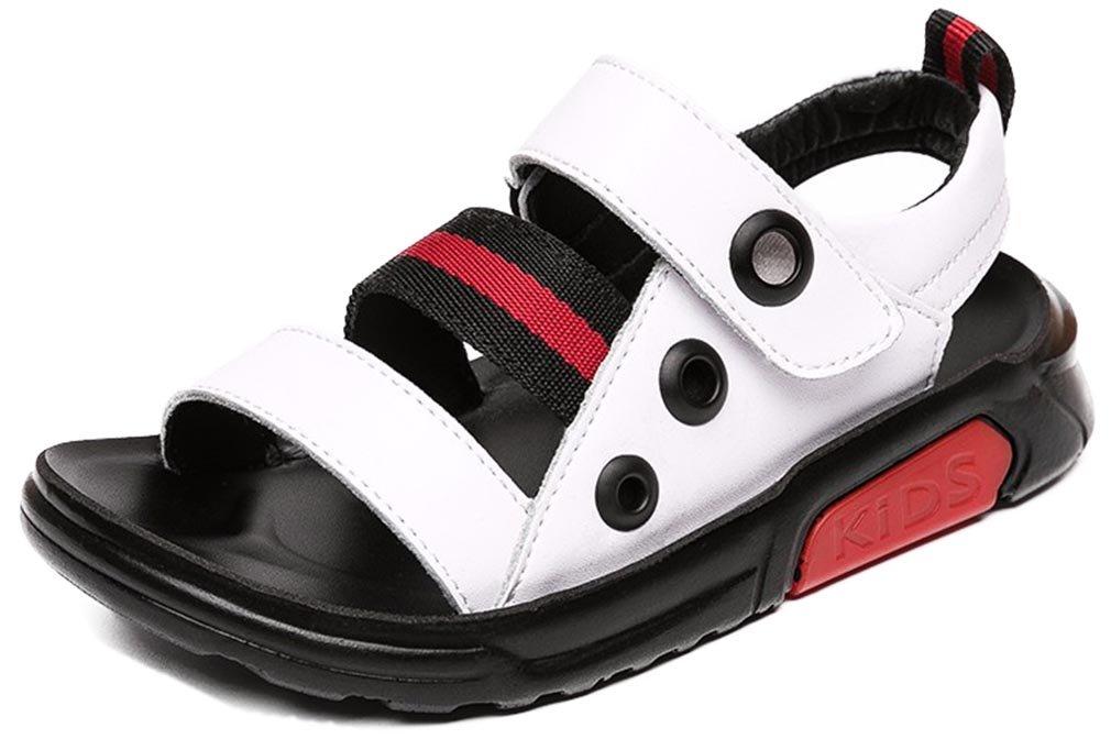 VECJUNIA Boy's Outdoor Sandals Open Toe Anti-Slip Summer Running Water Sandals (White, 9.5 M US Toddler)