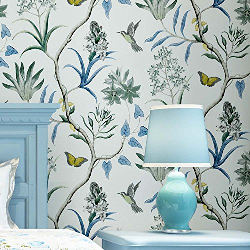 Wallpaper Border Butterfly Garden - YJZ Non-Woven Vintage Flower Bird Wallpaper Floral Wall Paper Mural For Livingroom Bedroom Kitchen Bathroom,Multicolor,Blue