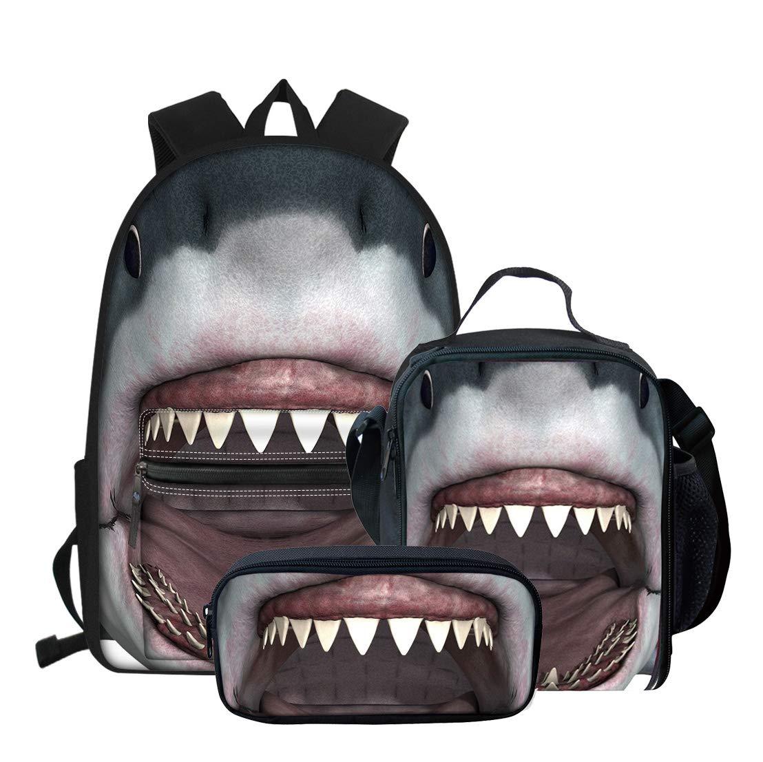 Novelty 3D Shark Printing Kids School Backpack Book-bag + Lunch Bag + Pencil Bag 3 Piece Set
