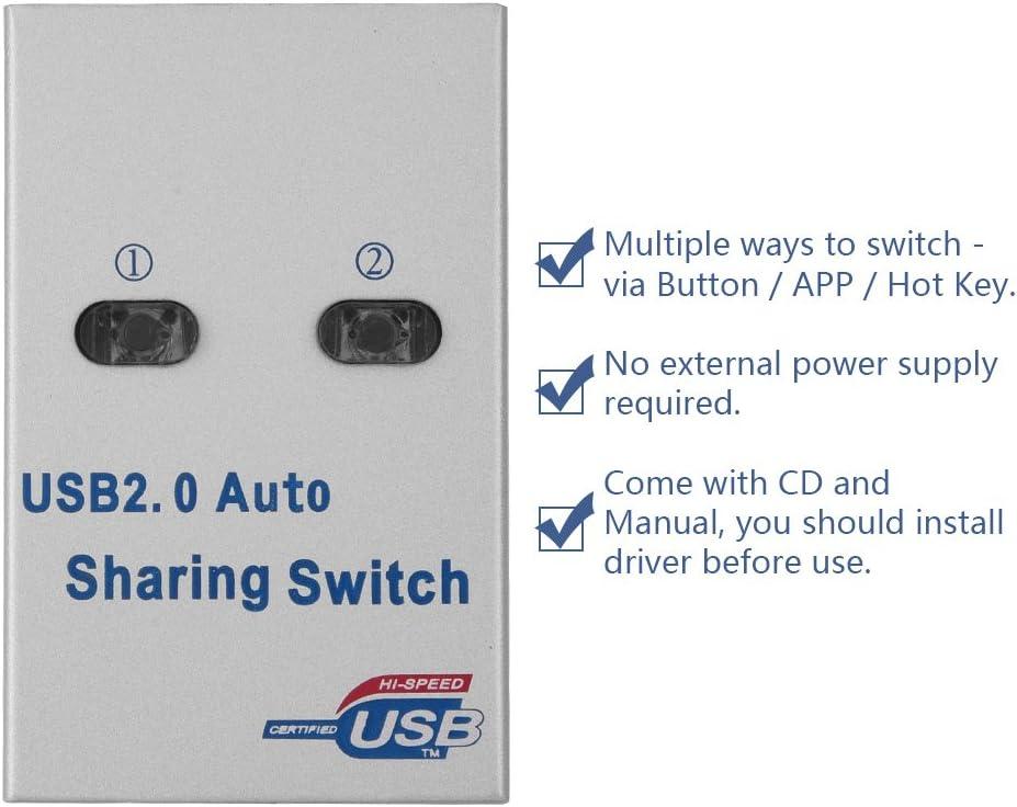 ASHATA USB 2.0 Interruptor de Intercambio Automático/Manual Adaptador de 2 Puertos Adaptador para Compartir Impresoras para el Escáner de Impresora: Amazon.es: Electrónica