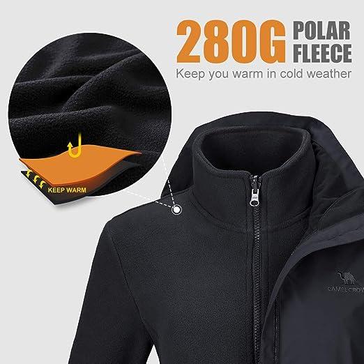 Amazon.com: CAMEL CROWN - Chaqueta de esquí impermeable 3 en ...