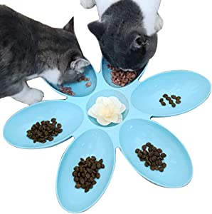 2 Pack Cat Bowls Cat Food Water Bowls Dishes Multi-Cat Feeder 6-Meal Kitten Food Bowl Multiple Cat Dinner with 6 Cat Bowls Kitty Cat Bowls Set Double Feeding Bowl Litter Food Feeding Weaning Feeder