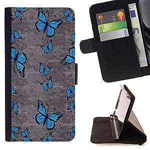 - Butterfly Vibrant Blue Spring Summer Wing - Estilo PU billetera de cuero del soporte del tir???¡¯????n [solapa de cierre] Cubierta- For HTC One M9 £¨ Devil Case £©