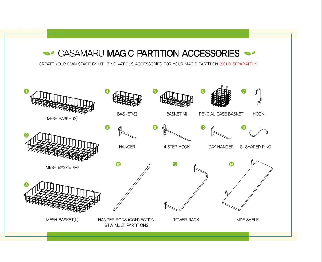 Casamaru Magic Partition Hanging Wooden MDF Shelf with Hook for Wire Wall Grid /& Panel White,Small