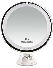 Auxmir Miroirs Grossissant x10 Miroir Maquillage Lumineux LED de Voyage avec Ventouse Miroir Grossissant Mural Rotation à 360°Miroir a Poser Idéal pour Rasage et Maquillage
