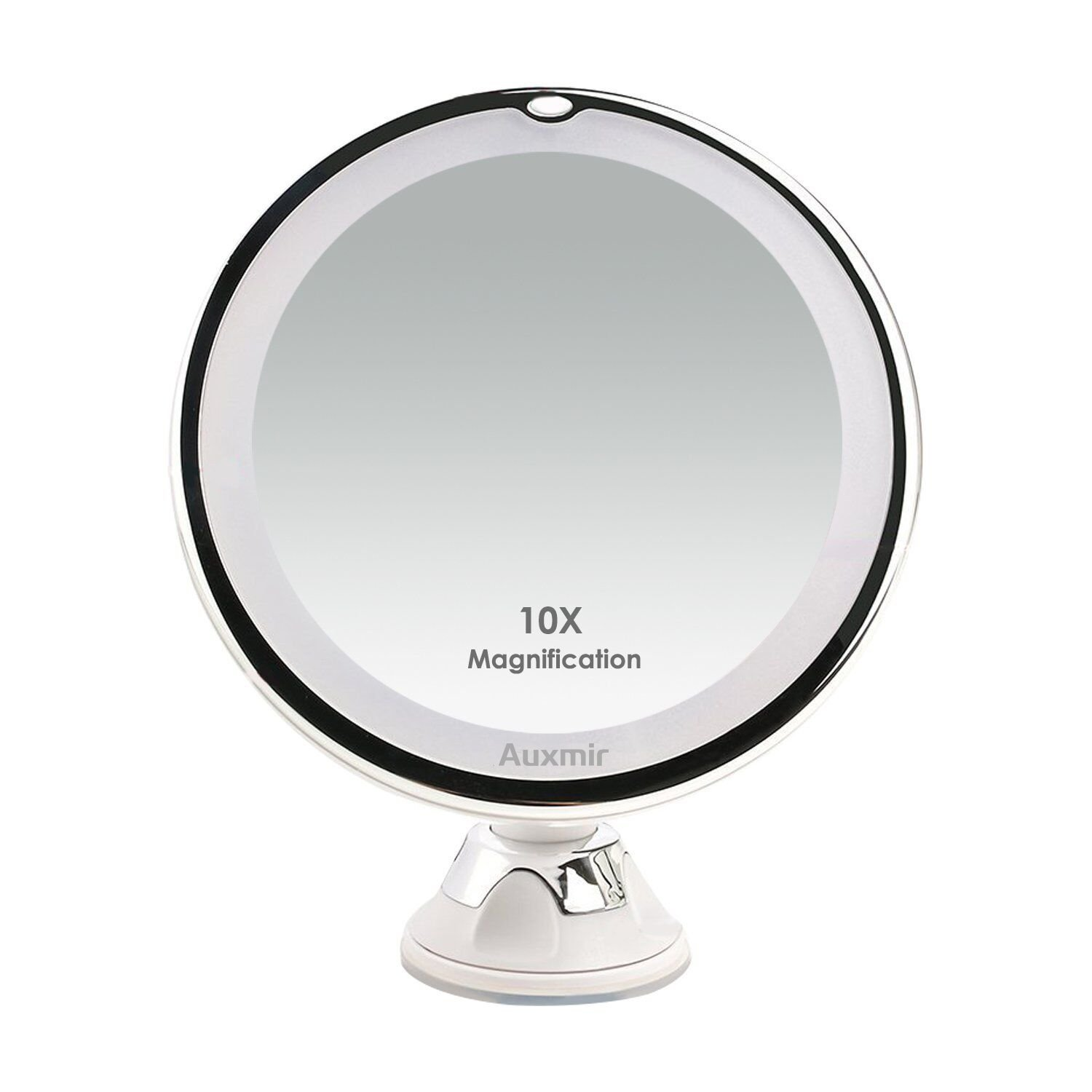Auxmir 10X Magnifying LED Lighted Makeup Mirror, Vanity Mirror 14 Natural White LED, Suction Base & 360° Rotation, Ideal Bathroom & Travel, Batteries Included, Round, 5.12 5.12