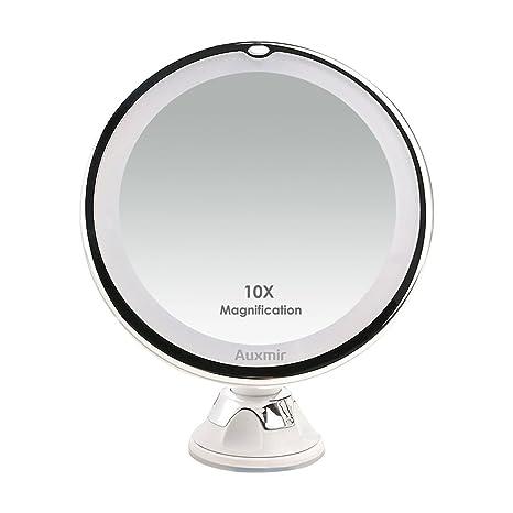 Specchio Ingranditore Da Bagno.Auxmir Specchio Ingranditore 10x Da Bagno Con Led Luce Naturale Specchio Da Trucco Illuminato Con Ventosa Potente 360 Girevole Portabile Senza Fili