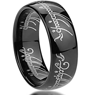 King Will Mens 8mm Tungsten Carbide Ring Black Lord Of The Rings Laser Pattern High Polished