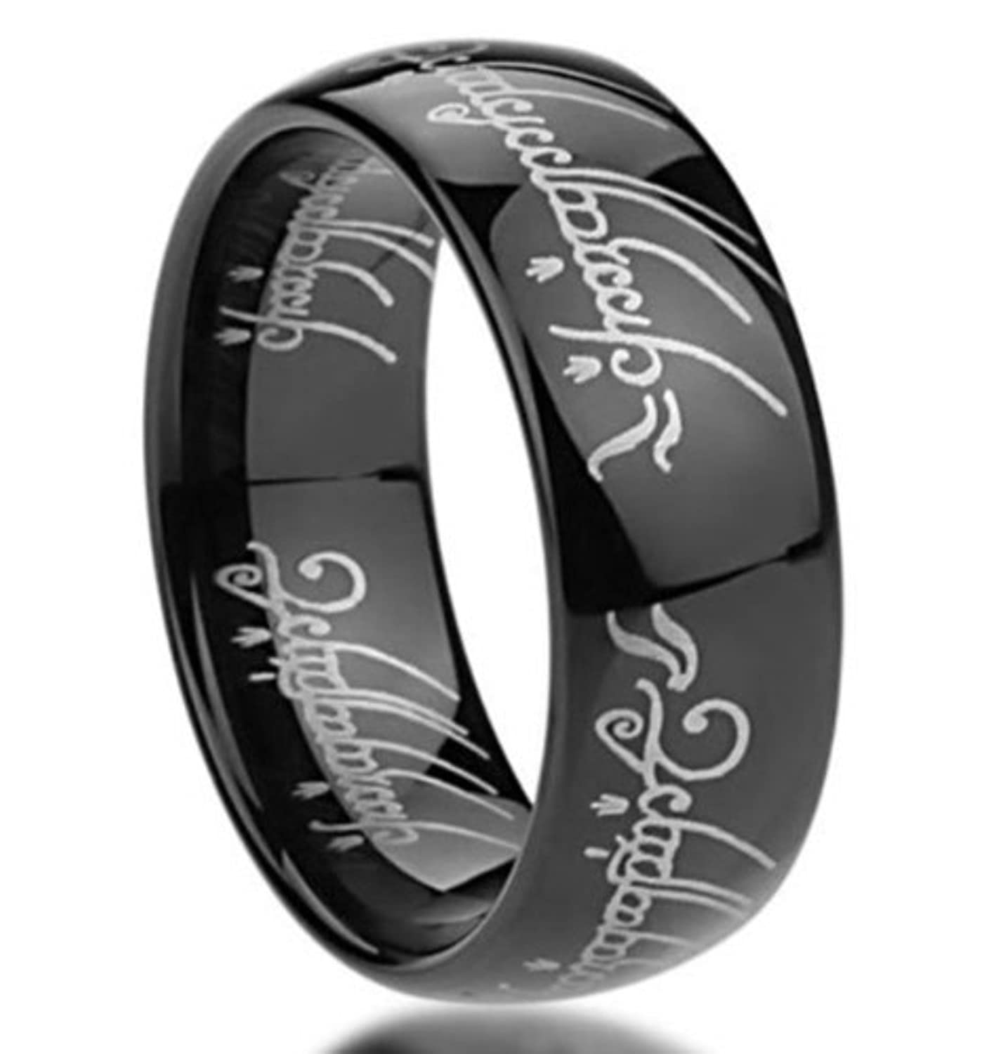 king will mens 8mm tungsten carbide ring black lord of the rings laser pattern high polishedamazoncom - The One Ring Wedding Band