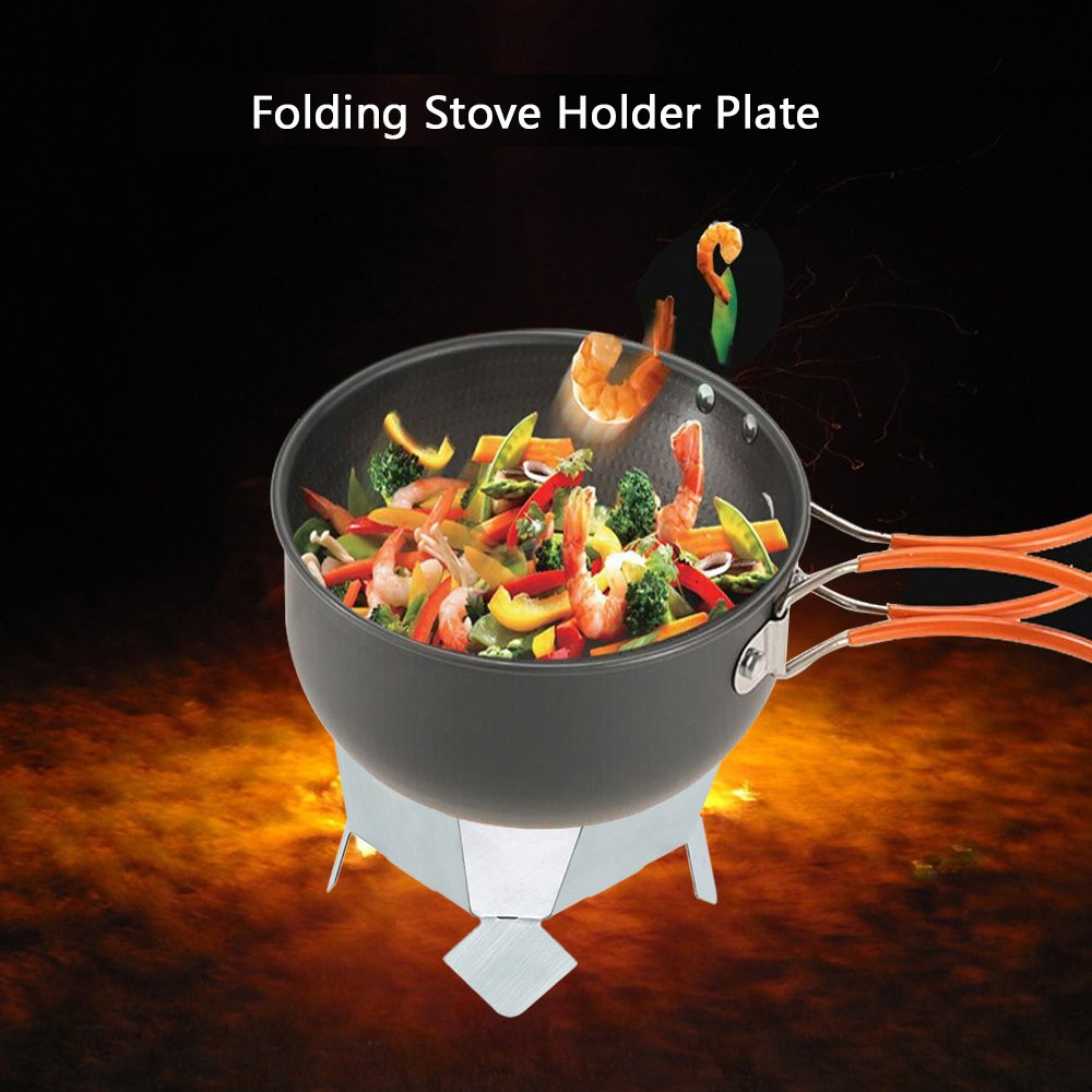 Lixada Portable Folding Stainless Steel Pot Holder Plate with Tray Solid Fuel Alcohol Stove Burner.