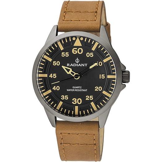 Reloj Radiant para Hombre con Correa Marron y Pantalla en Negro RA46602: Amazon.es: Relojes