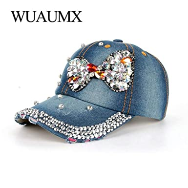 a66f785903d14 Image Unavailable. Image not available for. Color  Hakazhi Inc Women s  Baseball Caps Rhinestone Drill Bling Bow tie Crystal Cap Denim Visor Hip Hop