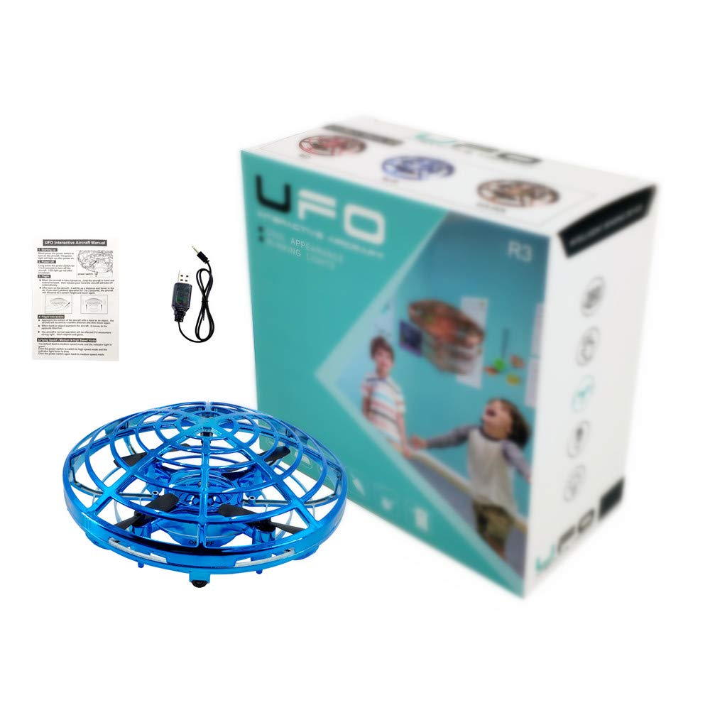 UFO Flying Ball Toys, Hand Operated Interactive Infrared Induction Mini Flying Drone, Flying Toys Gift for Boys and Girls (Blue)