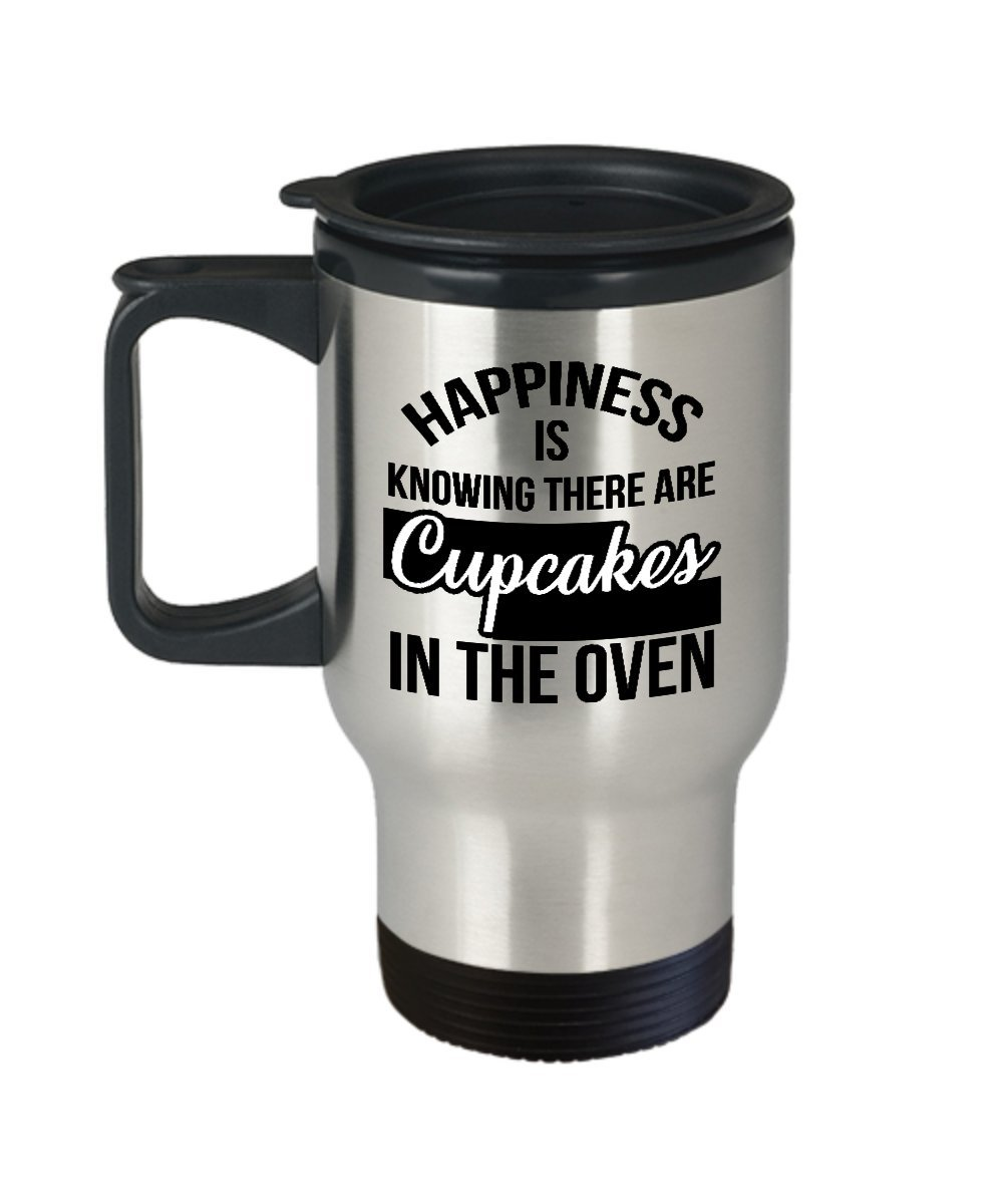 Happiness is Knowing There are Cupcakes in the Oven Travel Mug - 14oz Stainless Steel with Handle - Cupcake Themed Gifts