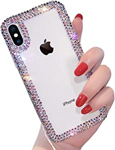 Qokey Compatible with iPhone XR Case 6.1 inch Bing Glitter Colorful Rhinestone Cute Fashion Clear Transparent TPU Protective Phone Cover for Women Girls