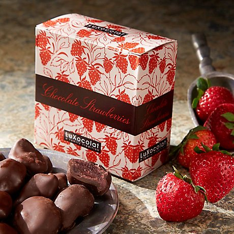 Candied Strawberries Dipped in Dark Chocolate by LuXocolat