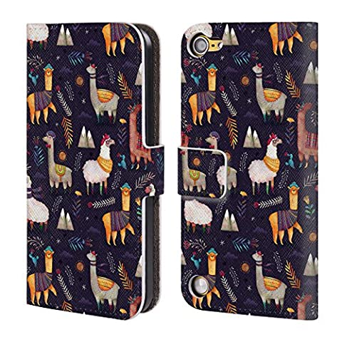Official Oilikki Llamas Animal Patterns Leather Book Wallet Case Cover For iPod Touch 5th Gen / 6th (Ipod 5 Llama Case)