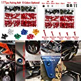 NICECNC Red Aluminum Windscreen Fairing Bolts Kit Fastener Clips Screws for Motorcycle Sportbike Honda,Yamaha,Kawasaki Suzuki,Aprilia MV Agusta Triumph