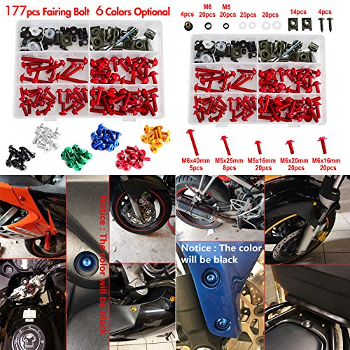 NICECNC Red Aluminum Windscreen Fairing Bolts Kit Fastener Clips Screws for Motorcycle Sportbike Honda,Yamaha,Kawasaki Suzuki,Aprilia MV Agusta Triumph by NICECNC