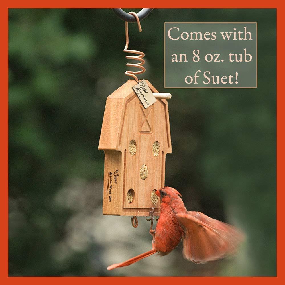Best Home Made Hanging Bird Suet Feeder for Wild Birds garden lover seed bucket outdoor good quality ecalyptus wood