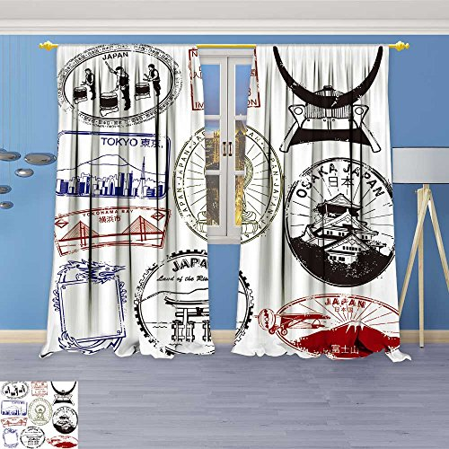 (SOCOMIMI Abstract Decor Curtains,Land of The RIS Sunshine,Living Room Bedroom Window Drapes 2 Panel Set, 108W x 84L inch)