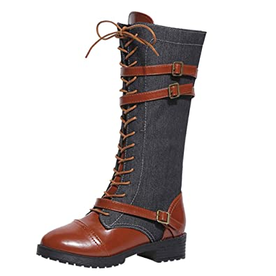 BaZhaHei Women Denim Boots Ladies Patchwork Shoes with Straps Roman Round  Toe Riding Boots Knee High f558dce4121d