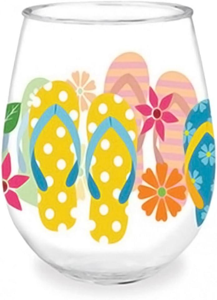 Patriotic Flip Flops wine Glass juice glass 18oz no stem hand painted stemless