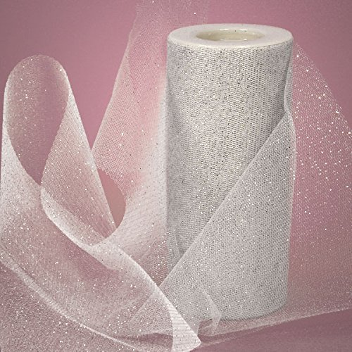Tulle Ribbon Rolls - 25 Yards - 6 Inches Wide (METALLIC SILVER)