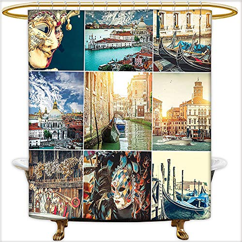 Qinyan-Home Bathroom Collection-Custom Waterproof Designed Masks for Carnival of Venice Baroque Style Gondolas on River Italy Landmark Picture Art Shower Curtain with 12 Hooks.W48 x H84 Inch
