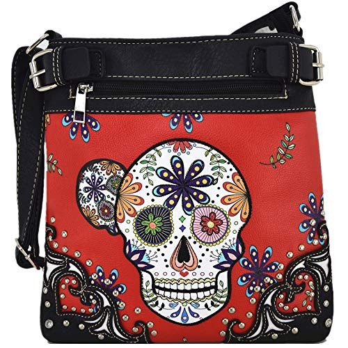 Sugar Skull Day of the Dead Cross Body Handbags Concealed Carry Purses Country Women Single Shoulder Bags (Red)