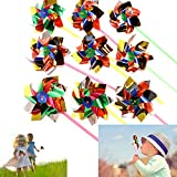 Dazzling Toys Paradise Party Pinwheels Pack of 12 Multi Flamboyant Colors, Pinwheel Measures: 6' Stick Measures: 11'