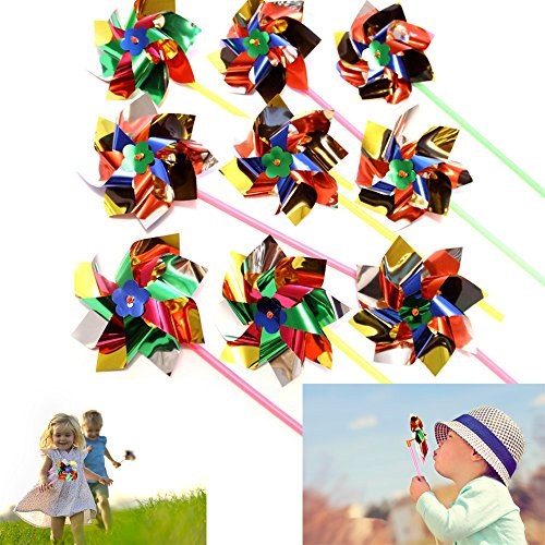 Dazzling Toys Paradise Party Pinwheels - Pack of 12 - Multi Flamboyant Colors, Pinwheel Measures: 6